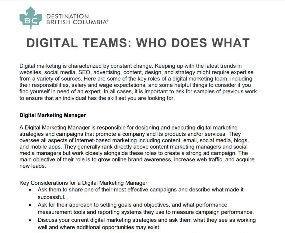 Digital Teams: Who Does What?