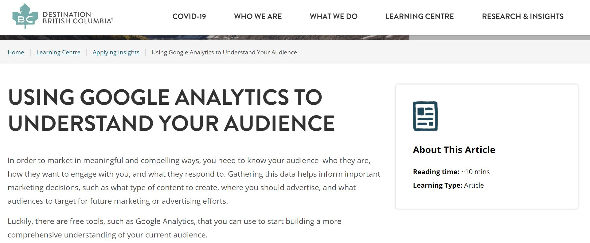 Using Google Analytics to Understand Your Audience