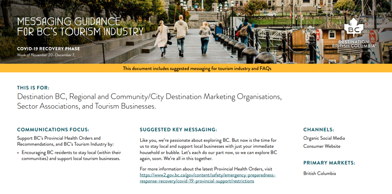 Messaging Guidance for BC's Tourism Industry