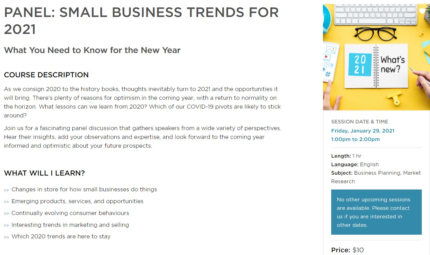 Small Business BC January 29 Webinar: Small Business Trends for 2021