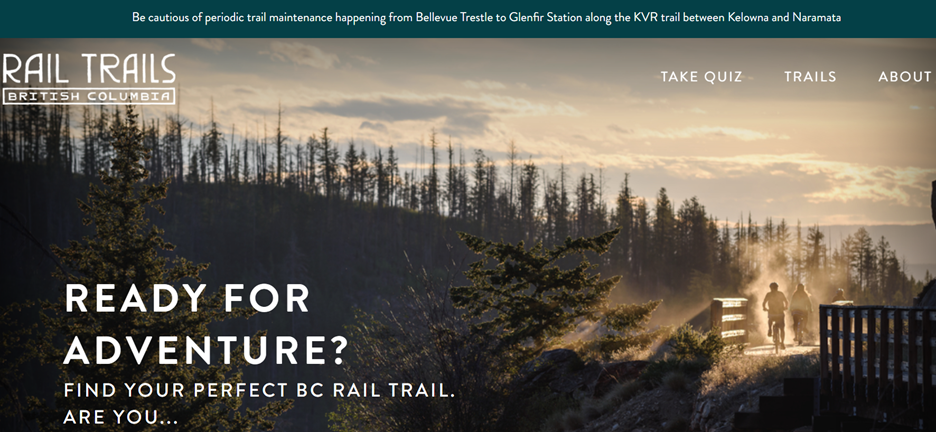 The Kettle Valley Rail (KVR) Trail and the Columbia & Western Rail Trail is the longest rail trail network in British Columbia