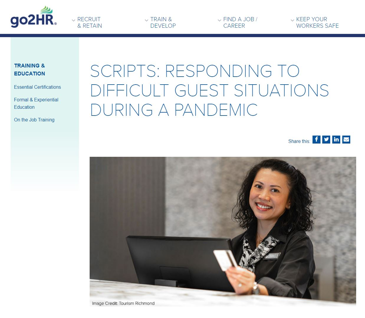 go2HR's Frontline Staff Scripts: Responding to Difficult Guest Situations During a Pandemic