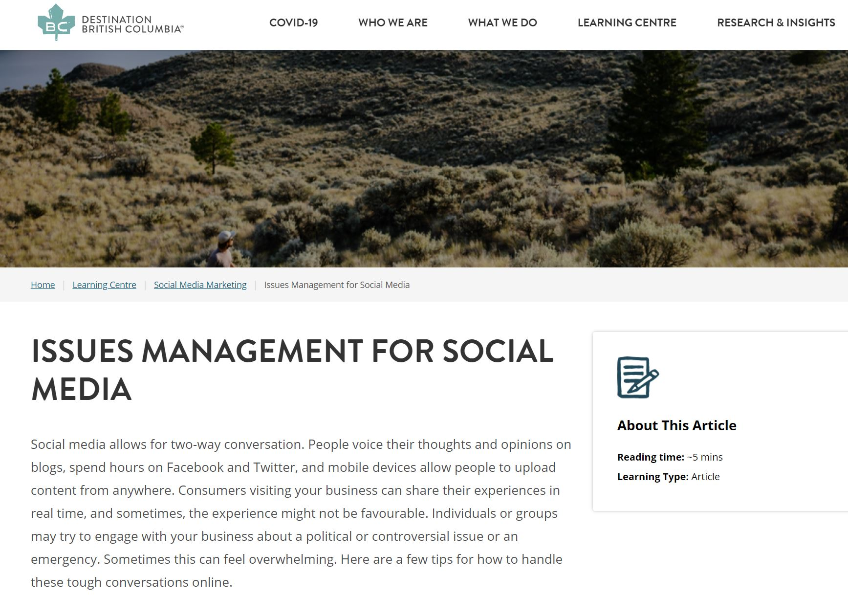 Issues Management for Social Media