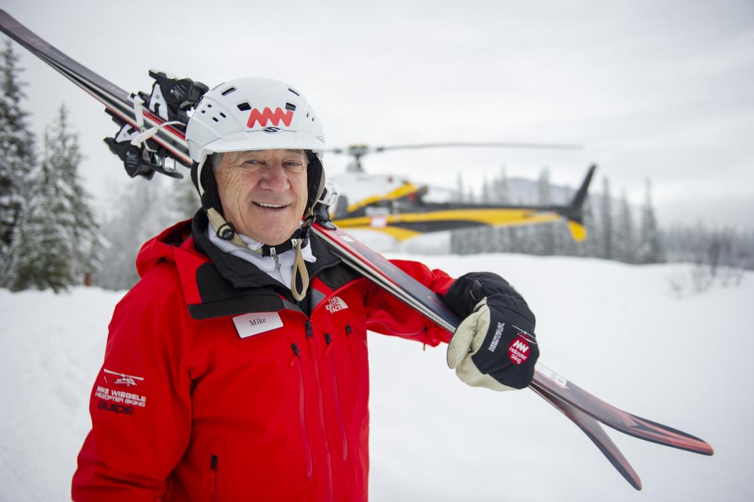 Mike offered his first heli-skiing trip in Valemount in 1970.
