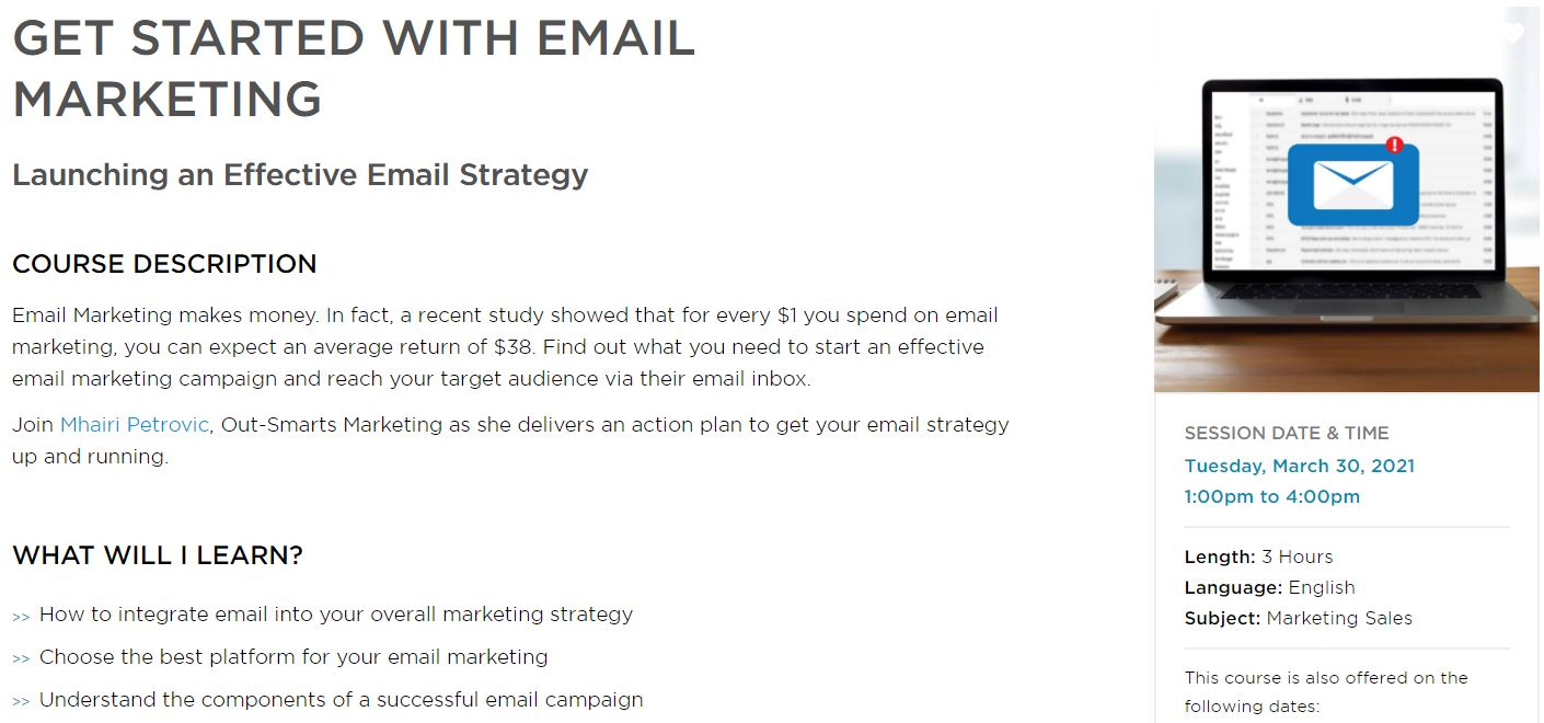 Small Business BC Webinar March 30: Get Started with Email Marketing