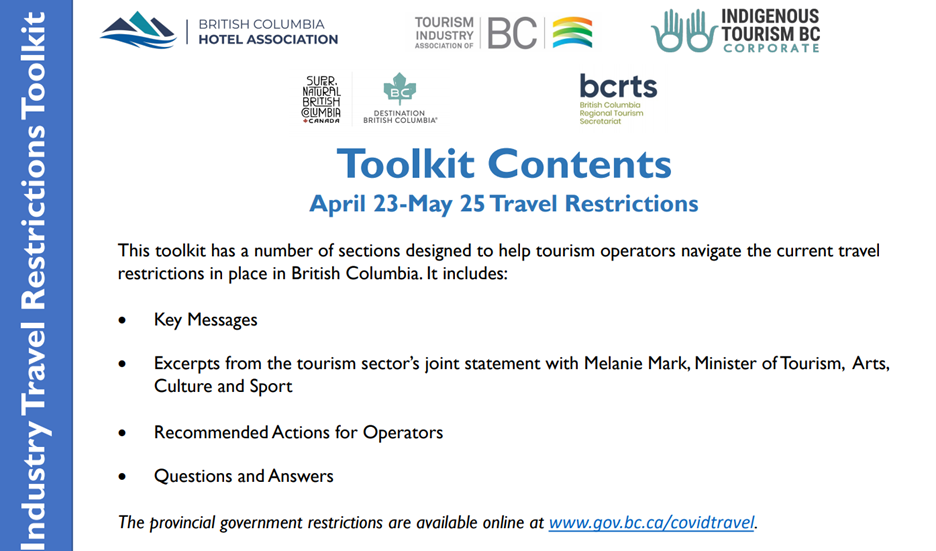 Destination BC has issued new messaging guidance for April 23, in response to the recent provincial order restricting non-essential travel within BC.