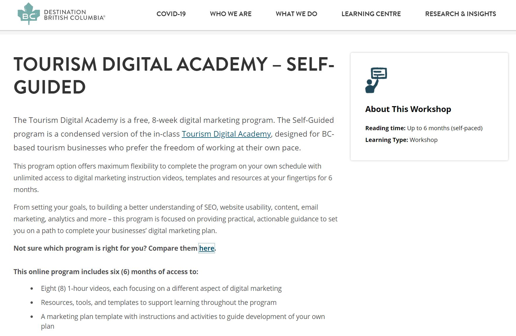 Tourism Digital Academy: Self-Guided