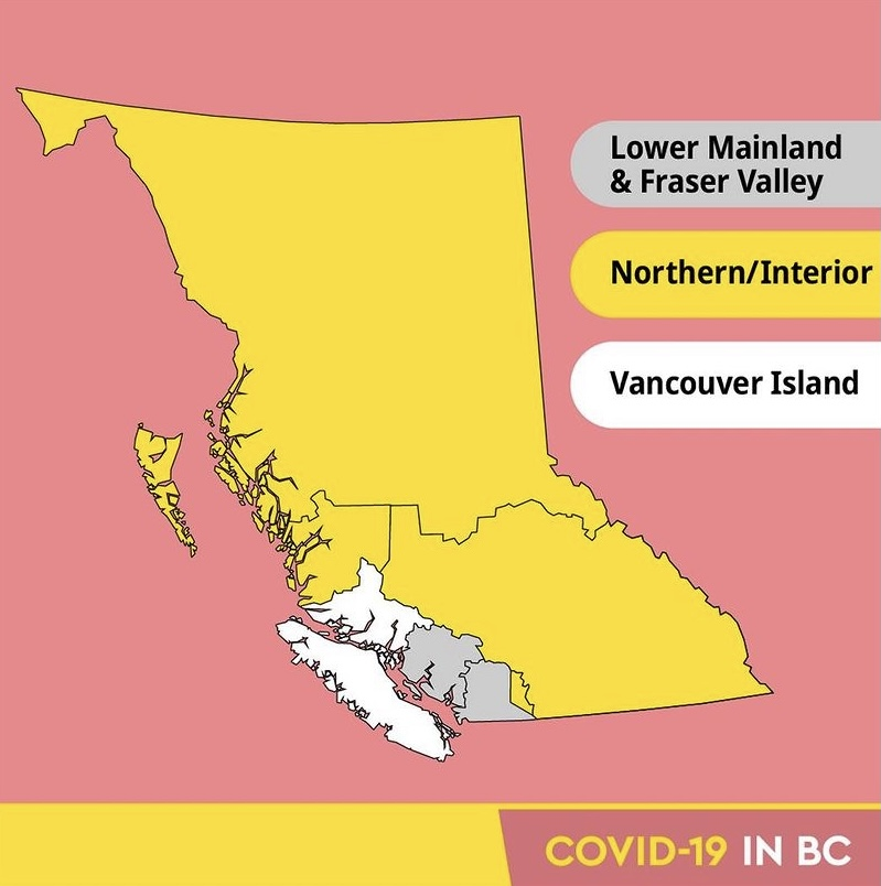 Non-essential travel is prohibited between three regional zones in BC, unitl May 25.