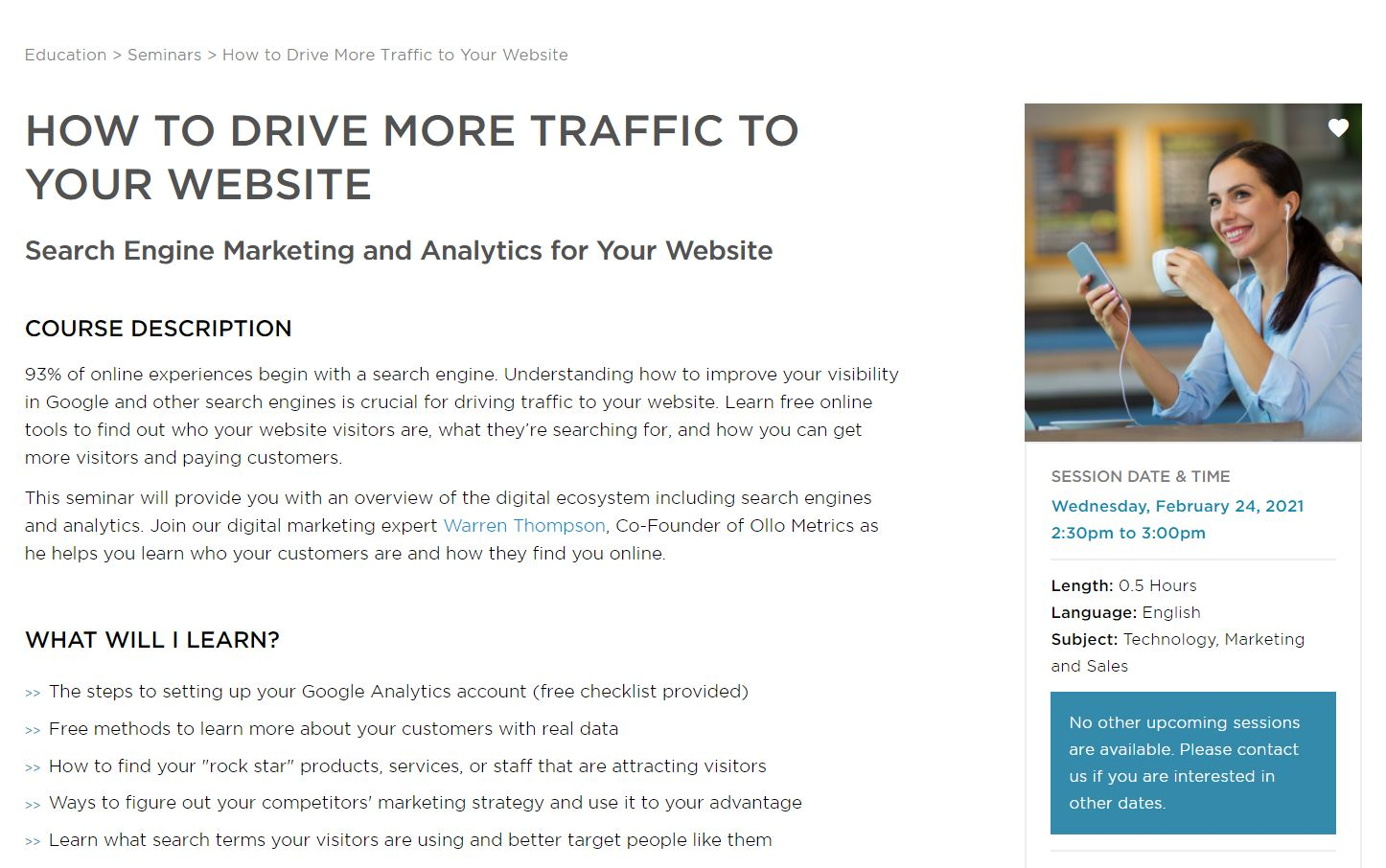 Small Business BC February 24 Webinar: How to Drive More Traffic to Your Website