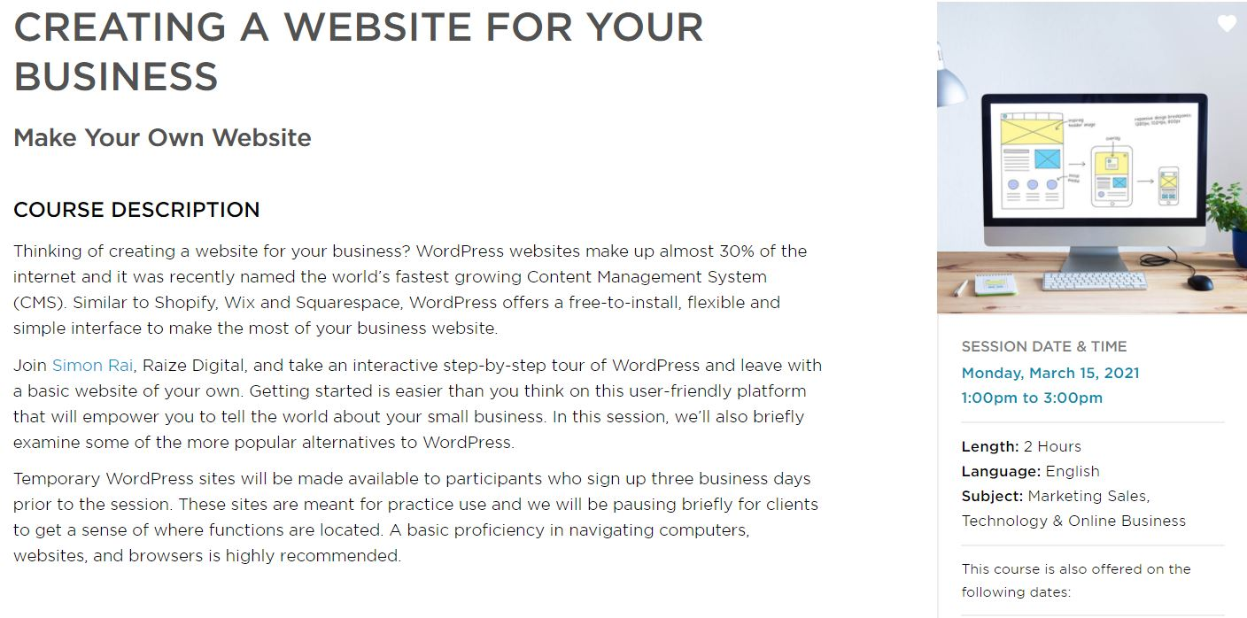 Small Business BC March 15 Webinar: Creating a Website for Your Business
